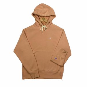 vintage champion pastel peach essential logo hoodie
