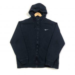 vintage clothing nike swoosh zip-up black hoodie