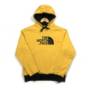 vintage the north face yellow embroidered logo hoodie