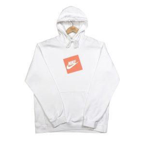 vintage nike printed orange box logo white hoodie