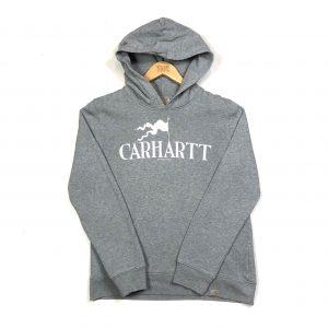vintage carhartt printed spell out grey hoodie