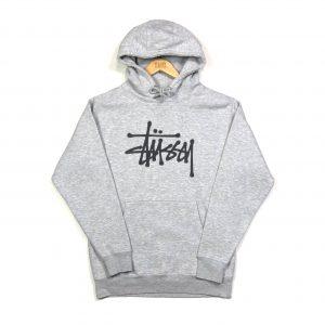 vintage stüssy grey printed big logo hoodie