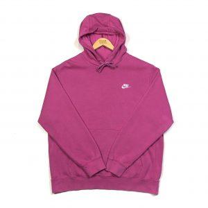 vintage nike bright pink embroidered swoosh logo hoodie