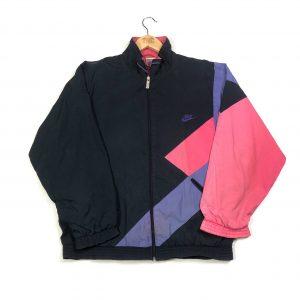 vintage 90s nike zip up logo back black jacket