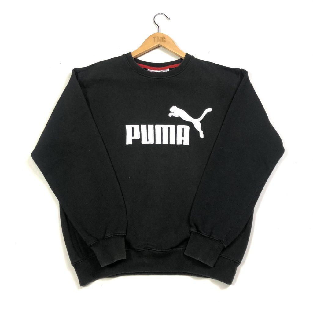 vintage puma embroidered spell out logo black sweatshirt