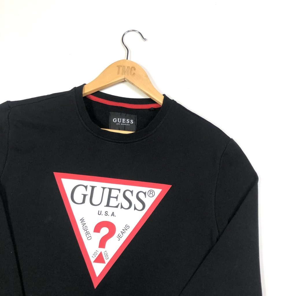 vintage clothing guess branded printed spell out black sweatshirt