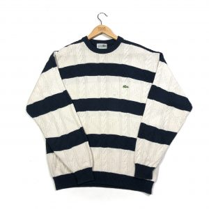 vintage clothing lacoste beige striped cable knit jumper