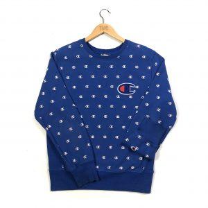 vintage clothing champion monogram print blue sweatshirt