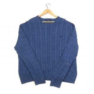 vintage clothing ralph lauren blue cable knit jumper