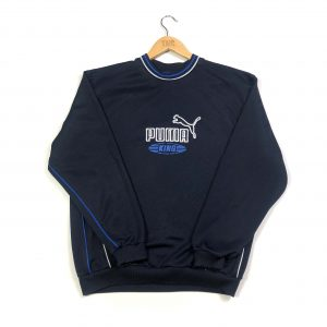 vintage puma embroidered centre logo navy sweatshirt