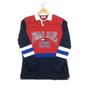 vintage tommy hilfiger embroidered red navy rugby polo shirt