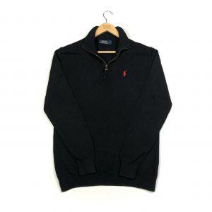 vintage clothing ralph lauren black quarter-zip sweatshirt