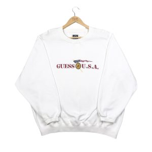 vintage guess usa embroidered spell out branded sweatshirt