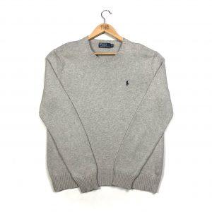vintage clothing ralph lauren polo logo grey knit jumper