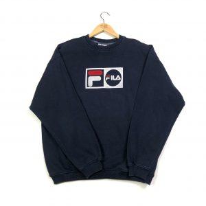 Vintage Fila spell out embossed felt logo sweatshirt.