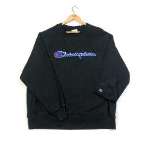 vintage champion embroidered logo black sweatshirt