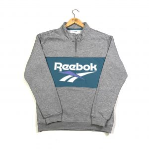 vintage reebok grey embroidered big logo quarter zip sweatshirt
