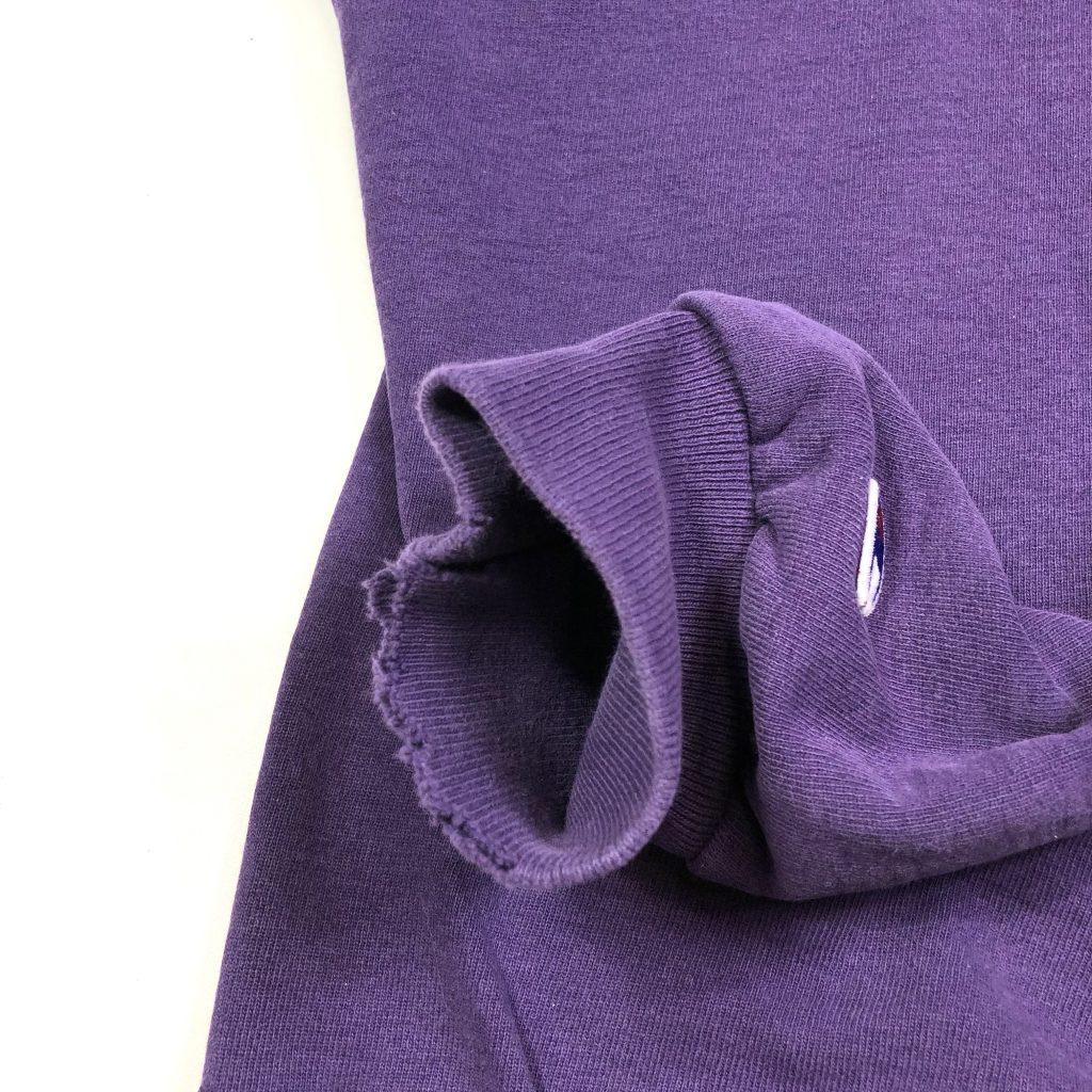 vintage champion embroidered scrip logo purple jumper