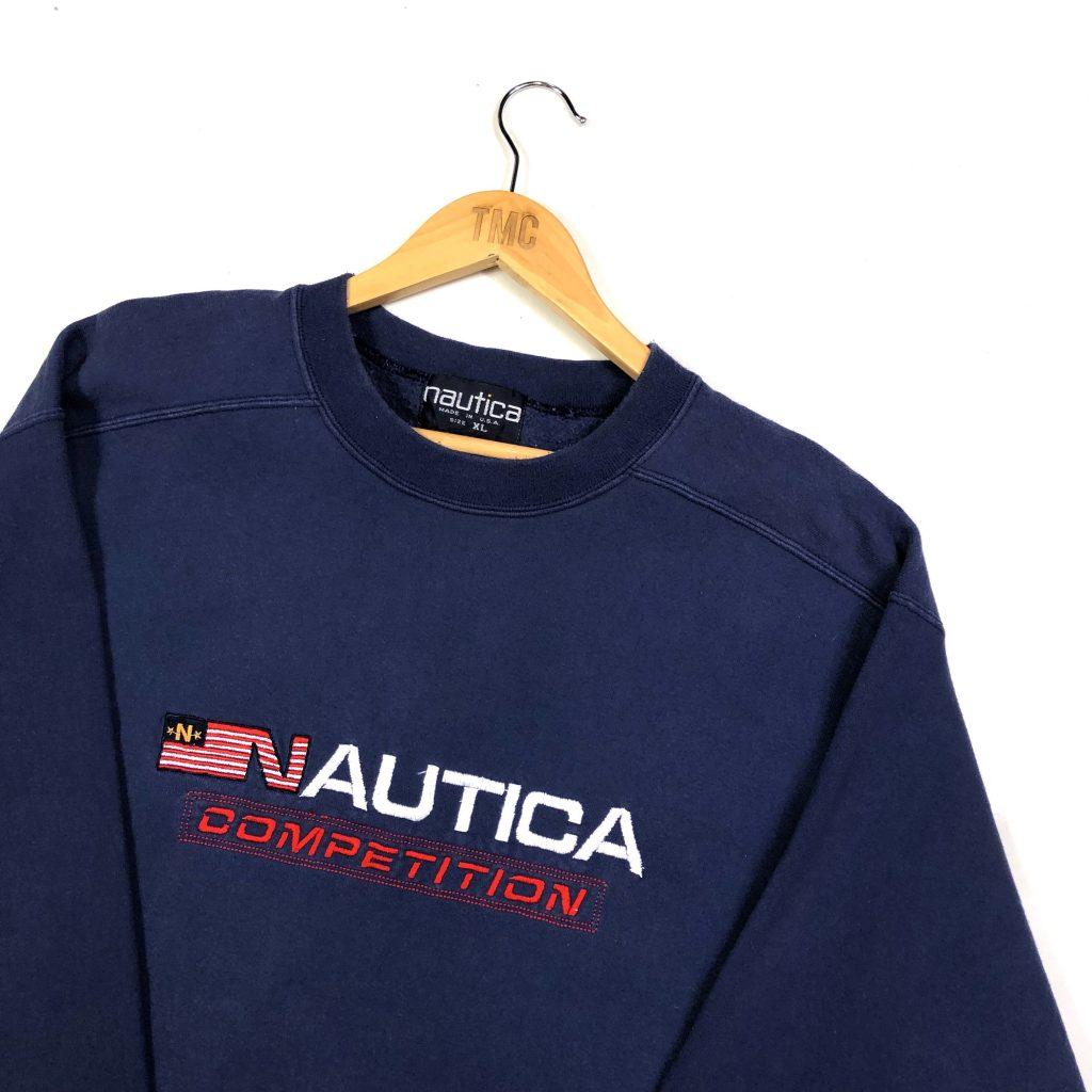vintage nautica usa embroidered american flag navy sweatshirt