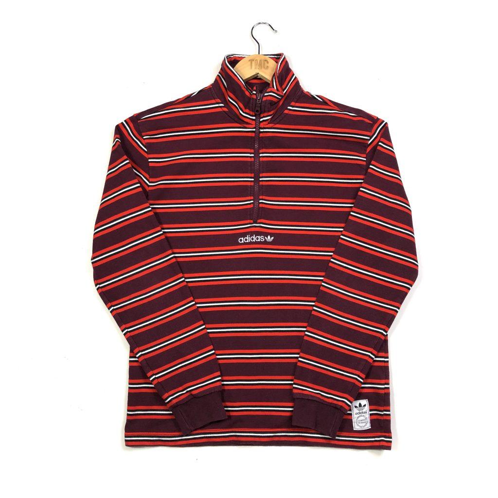 vintage burgundy adidas striped centre trefoil logo quarter zip sweatshirt