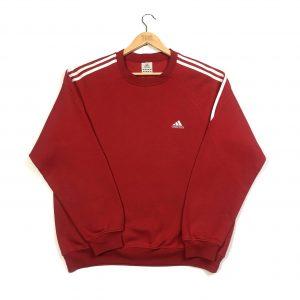 vintage adidas embroidered 3 stripes red sweatshirt