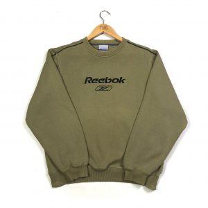vintage reebok embroidered centre logo khaki sweatshirt