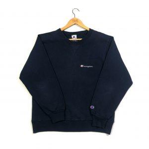 vintage clothing champion embroidered script logo navy sweatshirt