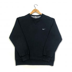 vintage nike embroidered tick logo black sweatshirt