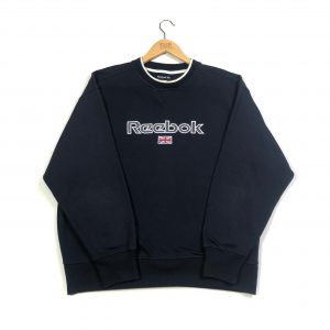 vintage reebok embroidered spell out navy sweatshirt
