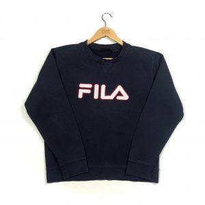 vintage fila embroidered big logo navy sweatshirt