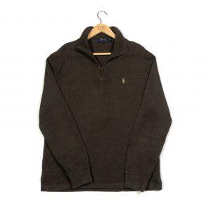 vintage rap lauren pony brown quarter zip sweatshirt