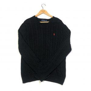 vintage clothing ralph lauren black cable knit jumper