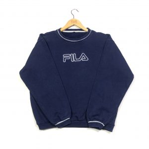 vintage clothing fila embroidered spell out navy sweasthirt