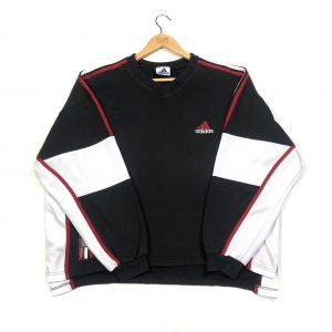 vintage adidas 3 stripes sleeves black v-neck sweatshirt