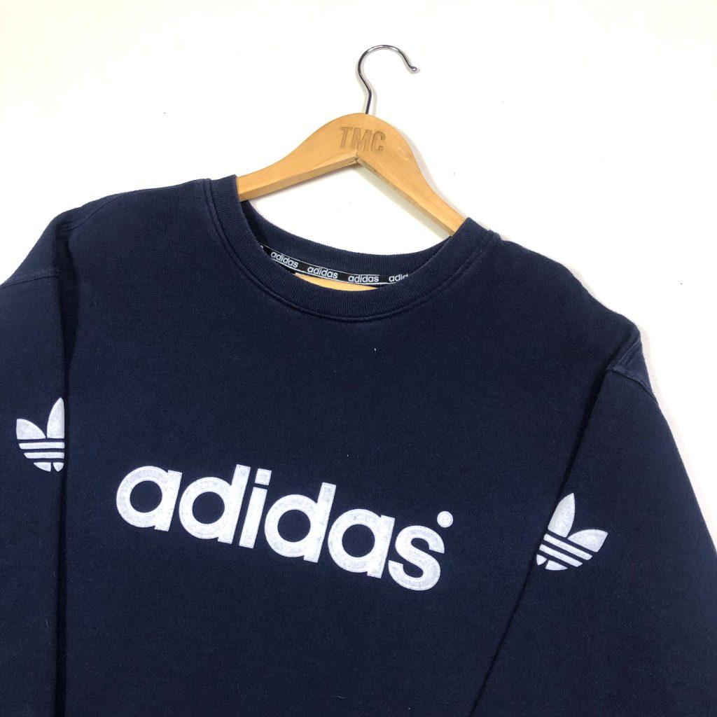 vintage adidas spell out trefoil logo navy sweatshirt