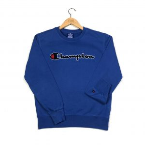 vintage champion branded fluffy spell out logo blue sweatshirt