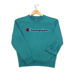 vintage champion branded fluffy spell out logo teal sweatshirt