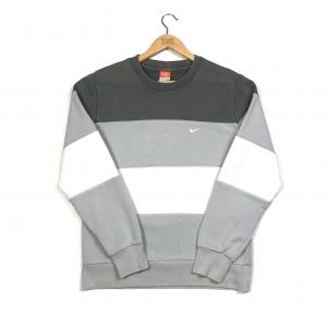 vintage clothing nike grey block colour stripe swoosh sweatshirt