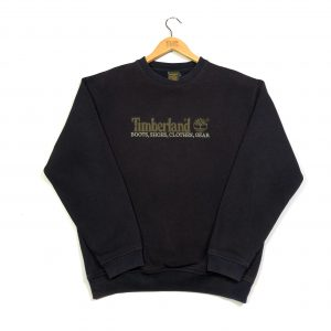 vintage timberland embroidered spell out black sweatshirt