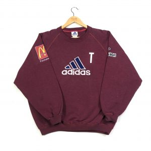 vintage clothing adidas embroidered big logo mcdonalds sponsorship burgundy sweatshirt