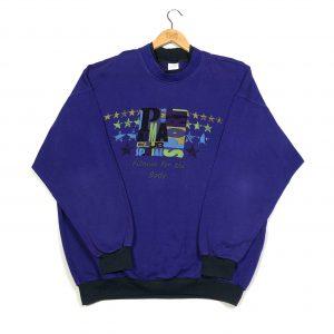 vintage 90s puma oversized graphic purple sweatshirt