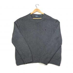 vintage ralph lauren pony logo grey knit jumper