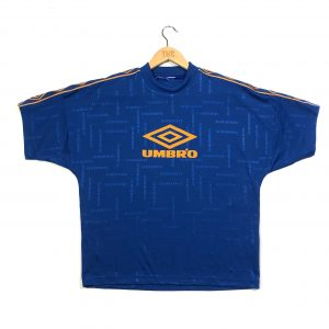 vintage umbro spell out logo tape sleeves blue t-shirt