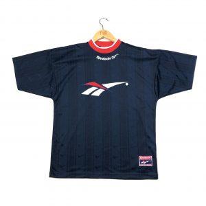 vintage reebok navy spell out logo short sleeve training t-shirt