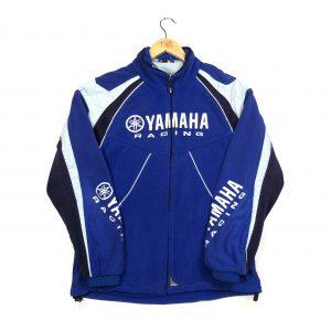 vintage yamaha racing embroidered zip up blue fleece