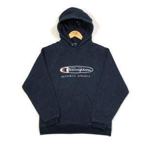 vintage clothing champion embroidered spell out navy hoodie