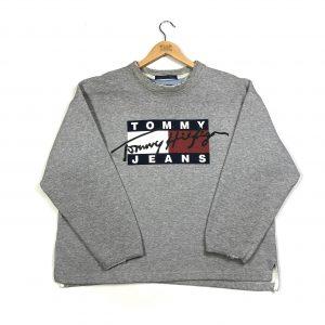 vintage tommy hilfiger printed logo boxy grey sweatshirt
