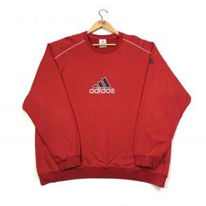 vintage adidas printed logo sports sweatshirt in red