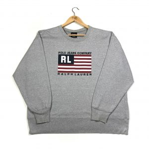 vintage ralph lauren oversized printed american flag grey sweatshirt