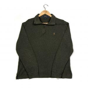 vintage clothing ralph lauren khaki quarter zip jumper multi-coloured pony logo